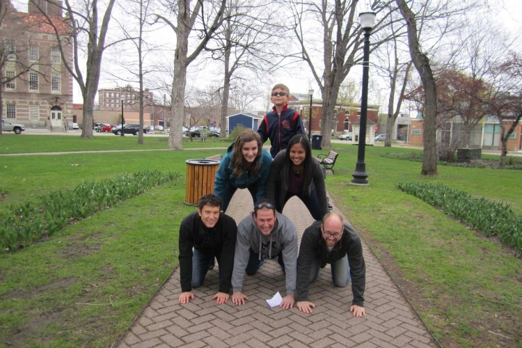 Young People human pyramid