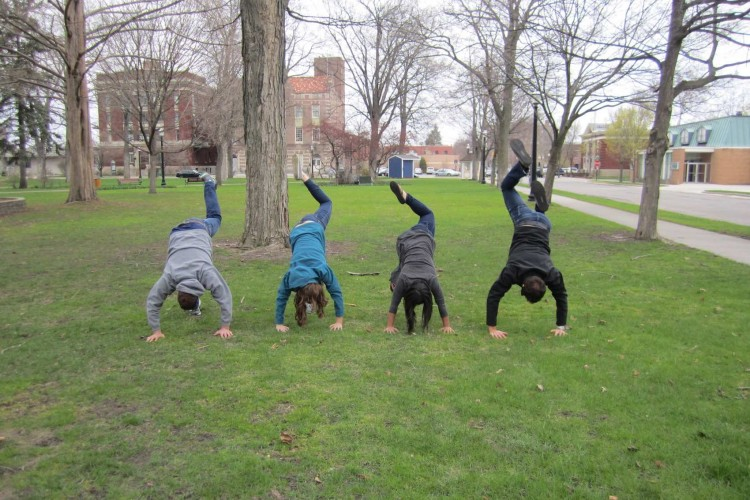 Young People handstands