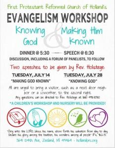 Evangelism Workshops Knowing God and Making Him Known Holland PRC flyer