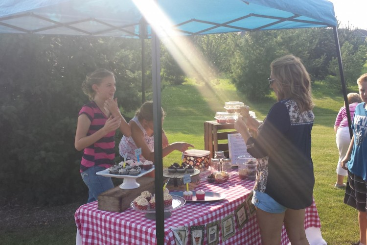 Cupcake stand at Young People's Dinner Sep 2015